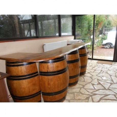 bar long en chene 4 demi barriques avec étageres a l' interieur
