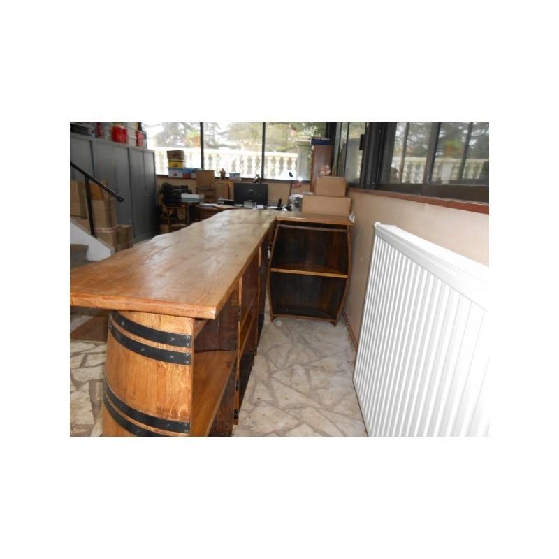 bar long en chene 4 demi barriques avec tageres a l 39 interieur gerard busin. Black Bedroom Furniture Sets. Home Design Ideas