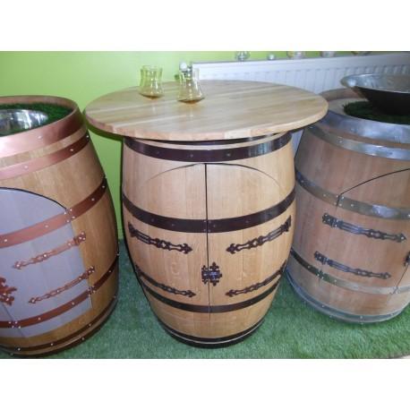 barrique bar en chene avec 2 plateaux tournant interieur et plateau superieur