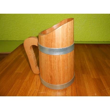 Pichet en chêne 1.5 l intérieur paraphiné alimentaire ( biére, eau, vin, etc...)