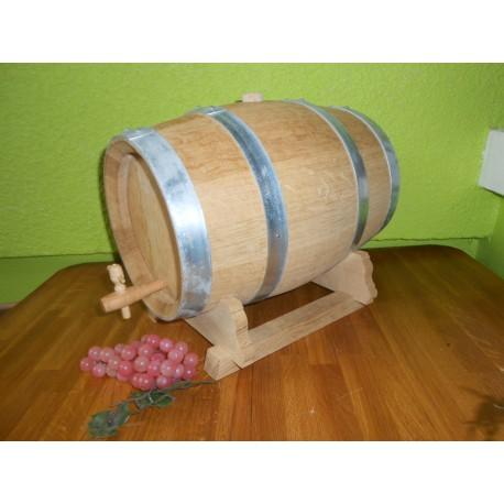 Fût 10 Litres Alcool en chêne nature monté sur chevalet avec robinet
