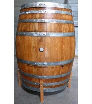 Présentoir à bouteilles sur base d'une tonne en chêne de 500l
