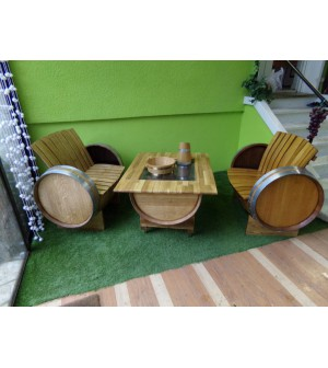 Salon chêne table basse 2 fauteuils