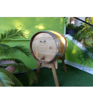 Coffre à bois en chêne sur chevalet en chêne