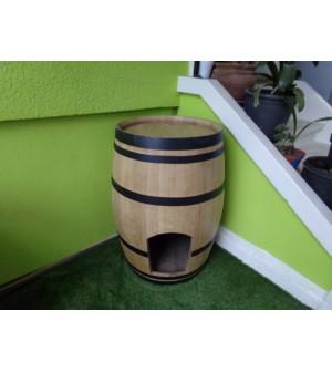 Barrique pour niche chiens ou chats en chêne