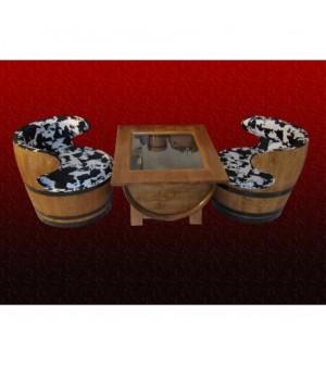 Salon intérieur 2 fauteuils tissus ou similis avec table basse plaque de verre securit