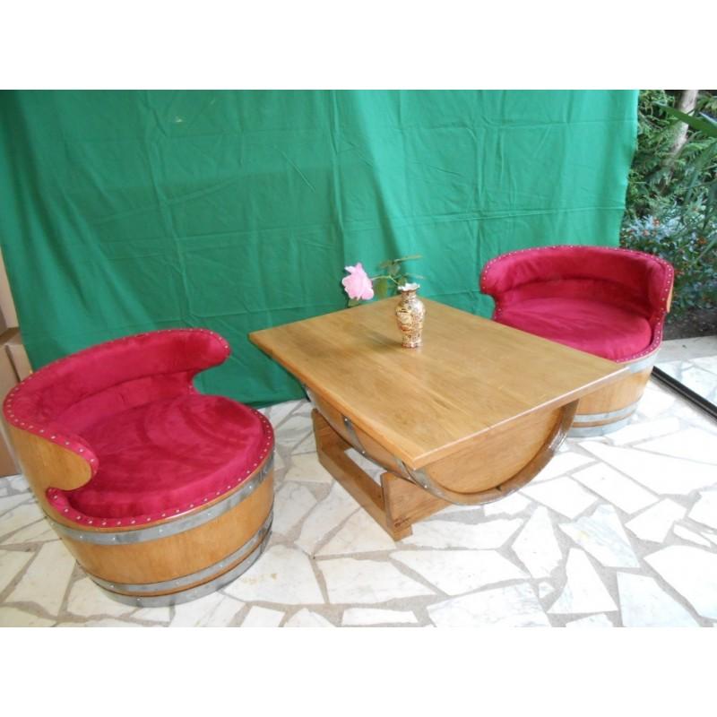 Salon int rieur 2 fauteuils tissus ou similis avec table - Verre securit pour table ...
